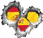 Bullet Hole Torn Metal 3 Shots With Spain Spanish Flag Car Sticker 95x85mm